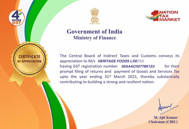 Certificate of Appreciation Karnataka 2021